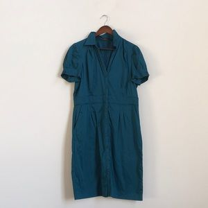 The Limited: shirt dress w/pockets - turquoise
